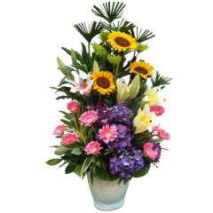 vase arrangement of oriental lilies and gerbera flower gift by Philippine online flower shop florist. Flower delivery to Makati, Alabang Quezon City. Free delivery in Metro Manila