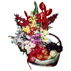 Basket of fruits with flowers. Delivery by reliable delivery service by Philippine flower shop. Located in Makati City.