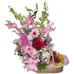 send basket of fruits and flowers in Manila, Makati, Quezon City, Pasig. Best online flower shop. Manila blooms.