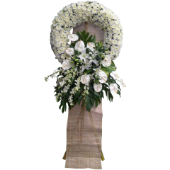 Funeral flowers to express your sympathy  with stand. Condolence flowers. Delivery by Philippine florist