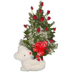 Cute 12 inch love bear hugging a vase arrangement of 12 roses. Flower gift delivery to Antipolo, Bacoor, San Pedro by Manila Florist