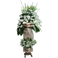 Funeral spray of anthuriums and orchids on a stand. about 7 feet in Height. Best funeral flowers delivery Manila, Makati, Quezon City, Muntinlupa, Cavite, Philippines