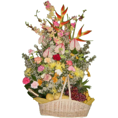 Basket of flowers and fruits with a bottle of wine. Send flowers and fruits by reliable Manila florist.