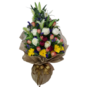 Bouquet of tulips and Ecuador roses. Delivery within Metro Manila by reliable Philippine online Florist