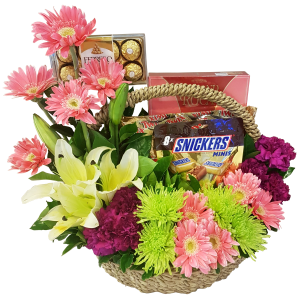 Basket of flowers and chocolates. Metro Manila delivery by reliable online Manila florist
