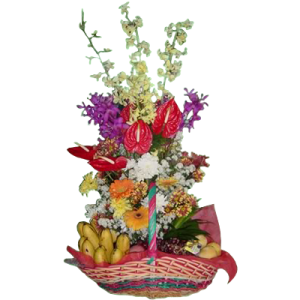 spring flowers with orchids arranged in a basket with fruits. Mother's day gift basket of fruits and flowers. Reliable delivery by Manila florist.