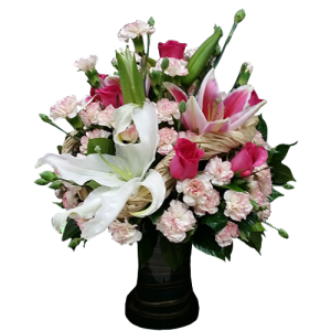 Best flower delivery by Philippine flower shop. Vase arrangement of carnations, roses and oriental lilies