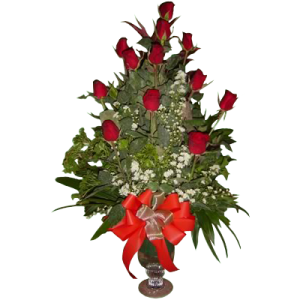 roses arranged in a glass vase florist delivery Makati, Quezon city. Best flower gift for Valentine's Day by Manila Florist.