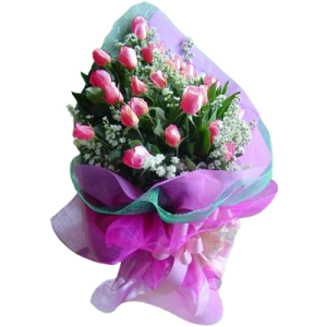 Arm bouquet 24 long stem pink roses same day delivery by online flowershop Makati. Free delivery in Manila