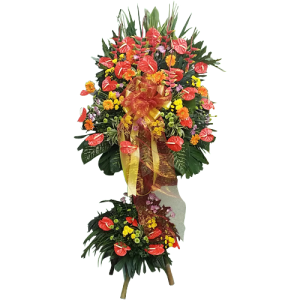 Company grand opening flowers. Spray of flowers with stand for company events. Express delivery by Philippine online flower shop.