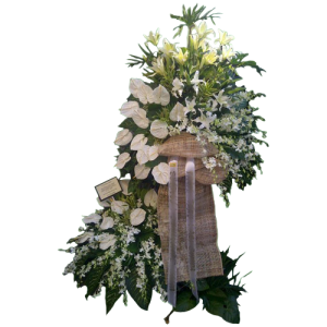 convey your sympathy and condolences with this big funeral spray of anthuriums, orchids and lilies. Express delivery of funeral blossoms by Manila Blooms online flower shop.