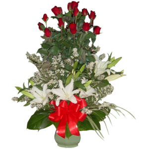 valentine gift of flowers - roses and lilies. Reliable delivery service by Philippine online flower shop. Manila blooms quality arrangements.