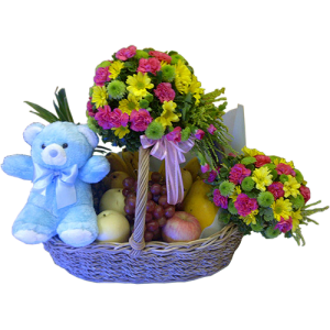 Send basket of flowers and fruits for the mom and a small bear for the new baby. We deliver to Hospitals in Quezon City, Ortigas, Makati, BGC. Order online Philippines