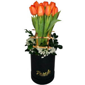 Box arrangement of Tulips. Romantic flower gift. We accept deliveries for Valentine's day. Send flowers within Metro Manila.
