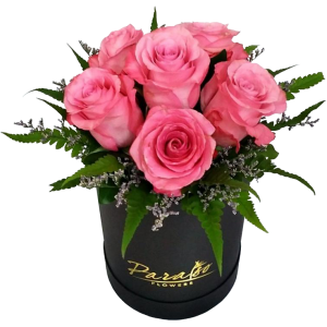 Box arrangement 6 Ecuador roses. Best Valentine's day gift delivery in Manila, Quezon City, Paranaque, Taguig, Pasig, Mandaluyong, Caloocan by dependable Philippine flower shop.