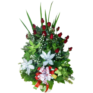 Christmas arrangement 12 red roses. Deliver Christmas gift Manila, Makati, Quezon City Philippines online florist